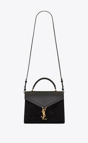 cassandra medium top-handle bag in smooth leather and suede