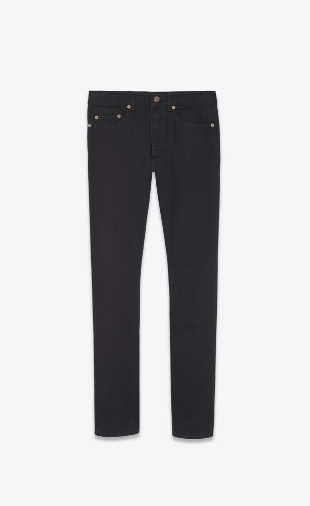 slim-fit jeans in worn black denim