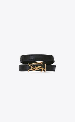 opyum double wrap bracelet in leather and gold-toned metal