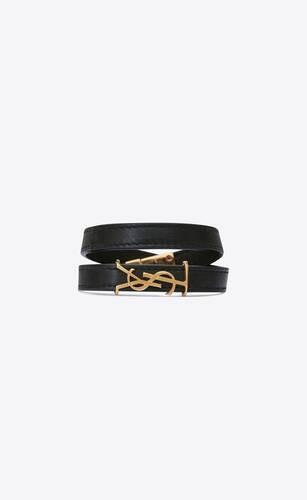 opyum bracelet double tour en cuir et métal doré