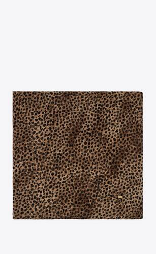 leopard-print large square scarf in silk muslin
