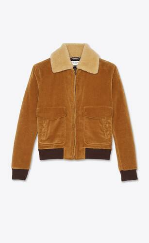 quilted bomber jacket in corduroy and shearling