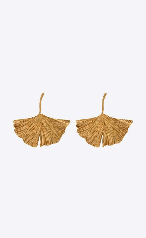 ginkgo leaf earrings in metal