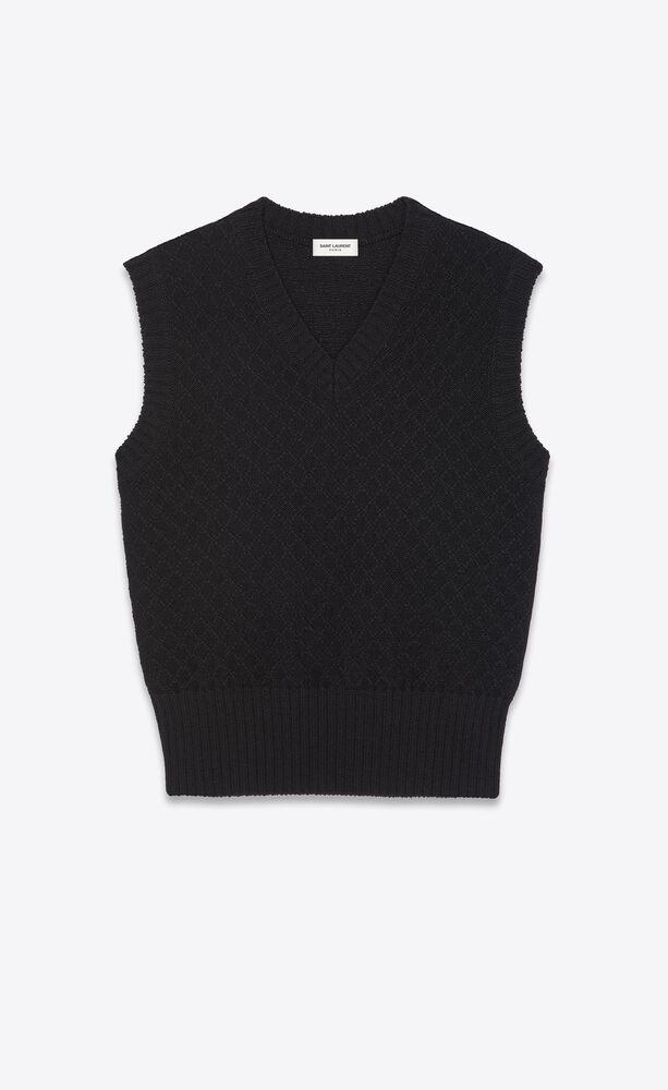 pullover senza maniche in lana a rombi