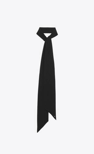 signature saint laurent long lavallière scarf in silk jacquard