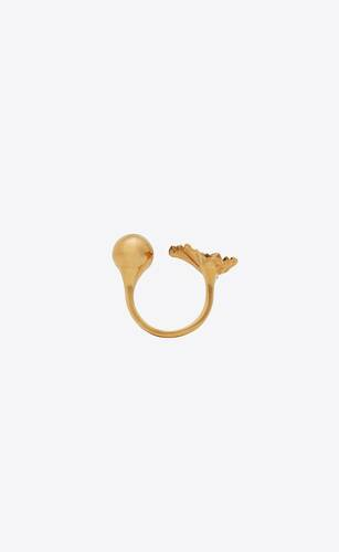 ginkgo leaf open duster ring in metal