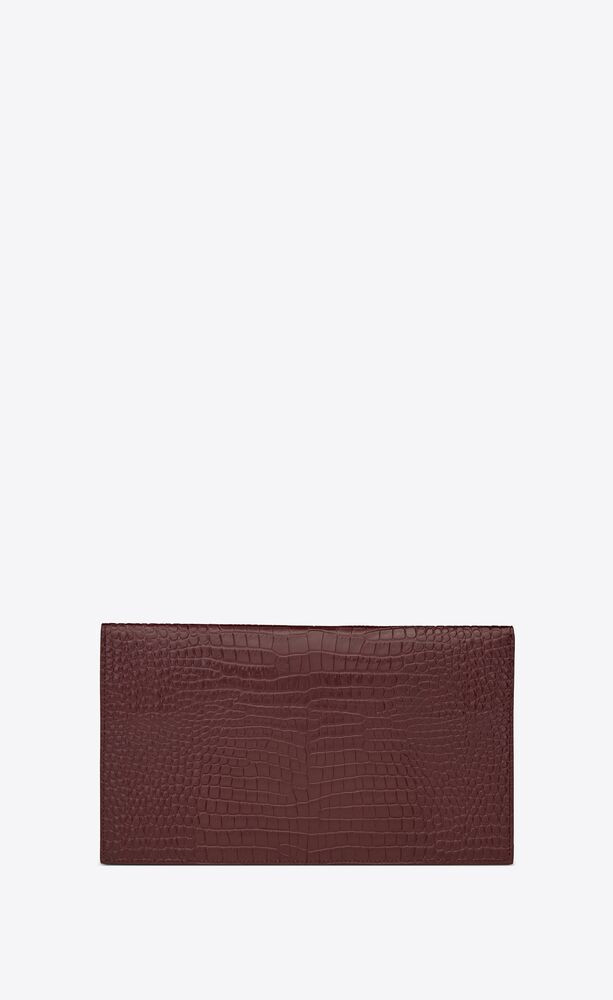uptown pouch in crocodile embossed shiny leather