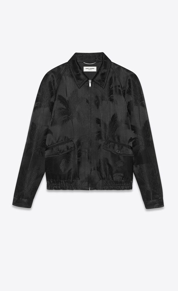 zipped raglan jacket in palm satin jacquard