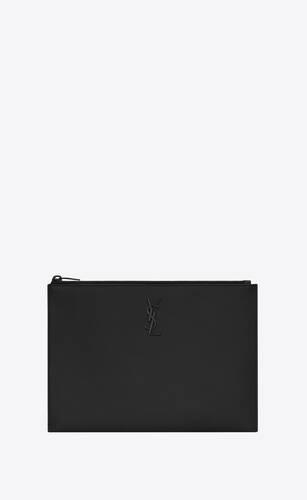monogram tablet-etui aus leder mit grain-de-poudre-struktur und reißverschluss