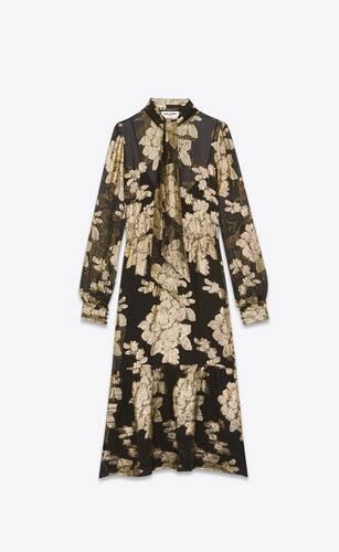 long lavallière-neck dress in floral lamé silk georgette