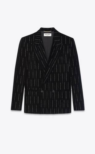 veste à double boutonnage en velours et rayures brodées
