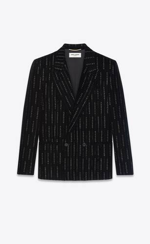 double-breasted jacket in embroidered velvet