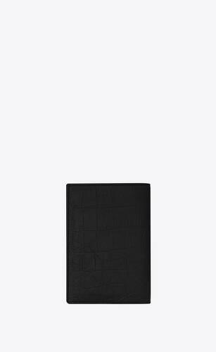 protège-passeport monogramme en cuir embossé crocodile