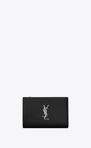 monogramme portefeuille à deux volets en cuir lisse