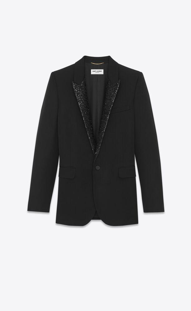 single-breasted jacket in grain de poudre saint laurent with sequins