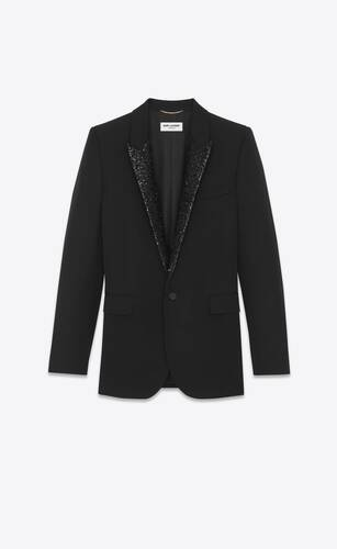 single-breasted jacket in grain de poudre saint laurent with sequins