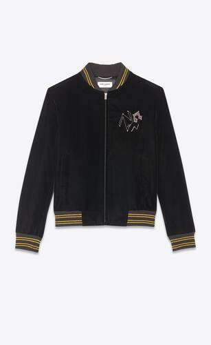"velvet varsity jacket with ""radio beat"" embroidery"