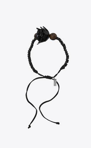flower bracelet in leather, beads and metal