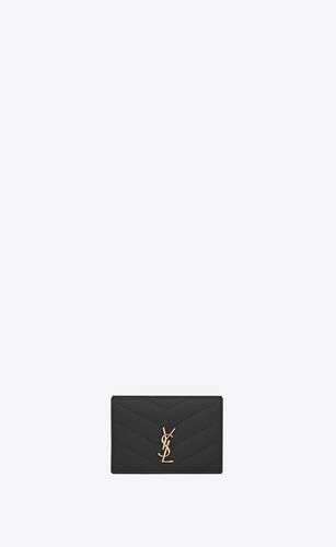 monogram saint laurent portafogli petite in pelle a texture trapuntata nero