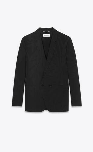double-breasted jacket in leaf wool jacquard