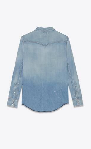destroyed western shirt in dusty pink blue denim