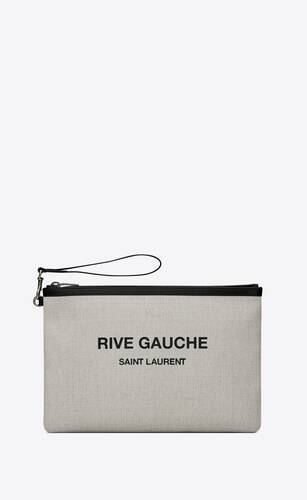 rive gauche zippered pouch in linen canvas