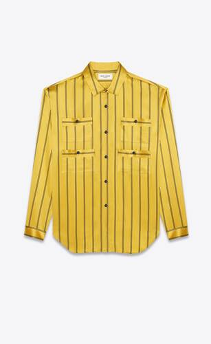four-pocket blouse in double-striped silk
