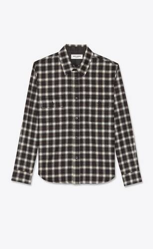 check overshirt in wool