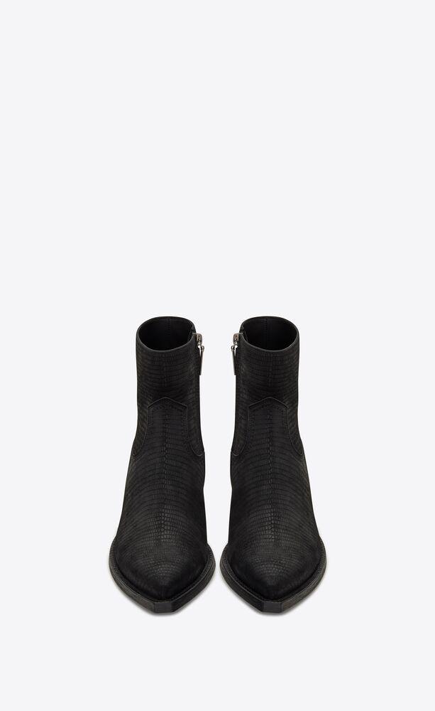 lukas boots western zippées en suède embossé lézard