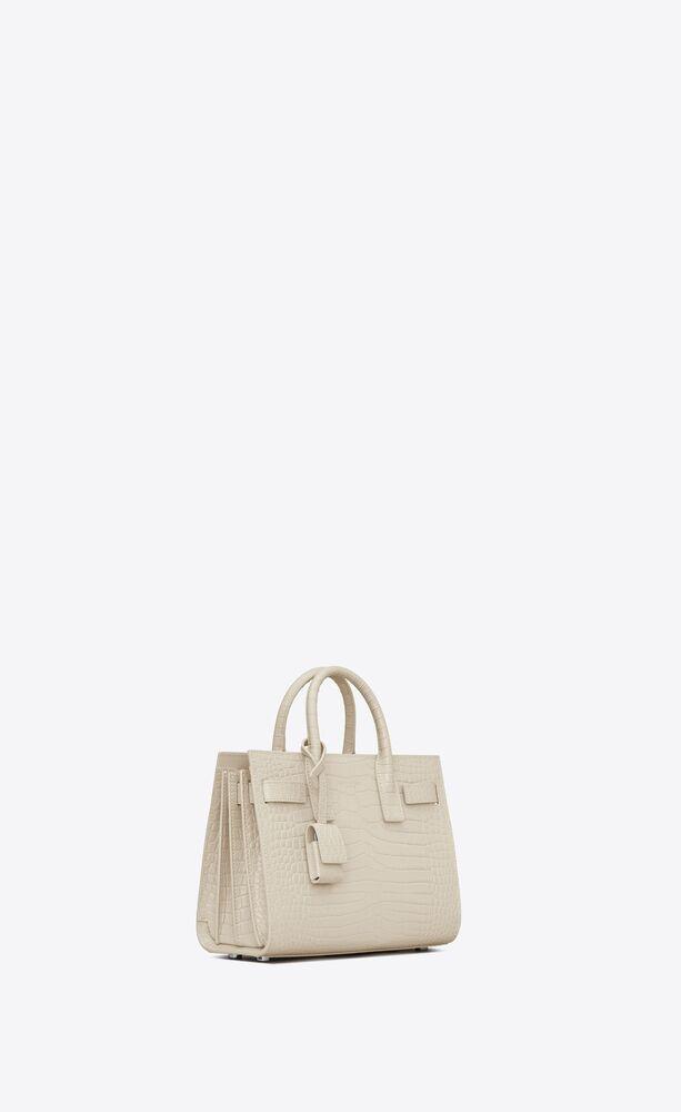 classic nano sac de jour in shiny crocodile-embossed leather