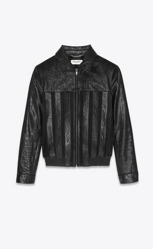 striped jacket in leather and suede
