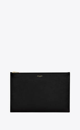 saint laurent paris large pouch in shiny leather