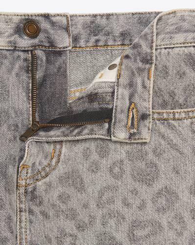 raw-edge shorts in leopard-print denim