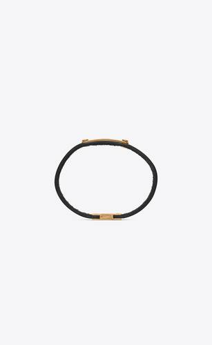saint laurent id plaque bracelet in smooth leather and metal