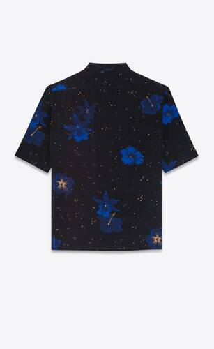 shirt in confetti hibiscus silk crepe de chine
