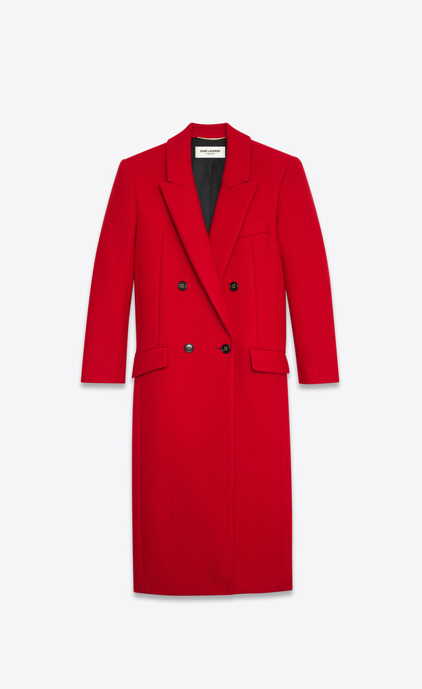 double-breasted long coat in cashmere
