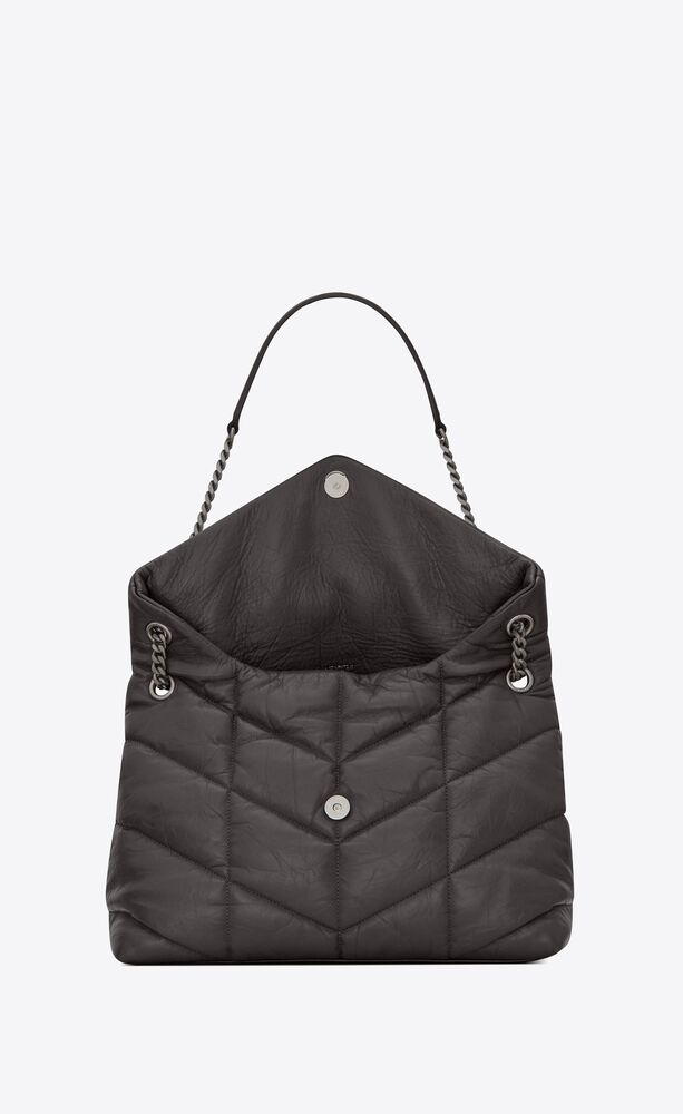 puffer medium bag in quilted crinkled matte leather