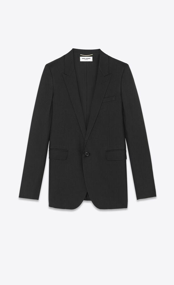 single-breasted tube jacket in black gabardine