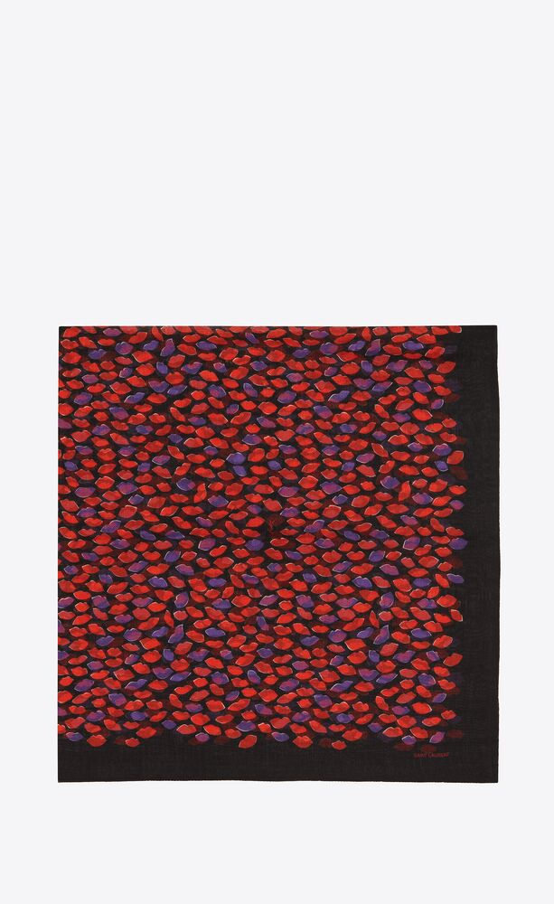 lip-print large square scarf in wool etamine