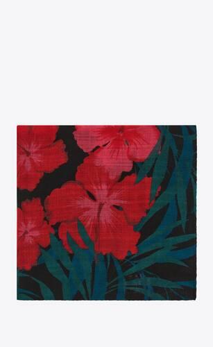 hibiscus pointed scarf in wool etamine