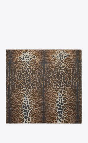 large square leopard scarf in beige and black cashmere etamine