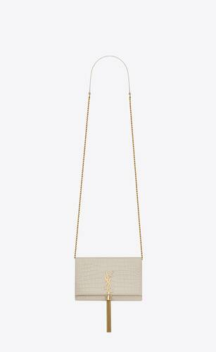 kate chain wallet with tassel in crocodile-embossed shiny leather