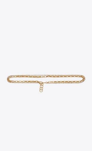 rectangular cable-chain belt in metal with rhinestones