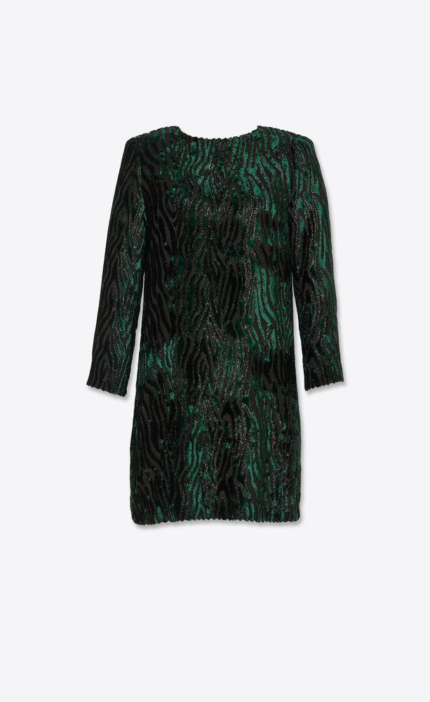 tiger-stripe dress in lamé velvet jacquard