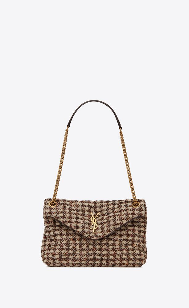 puffer small bag in checked tweed and lambskin
