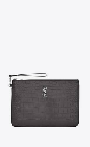 monogram tablet pouch in crocodile-embossed leather