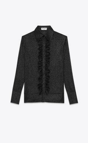 classic shirt with ruffled front in lamé silk