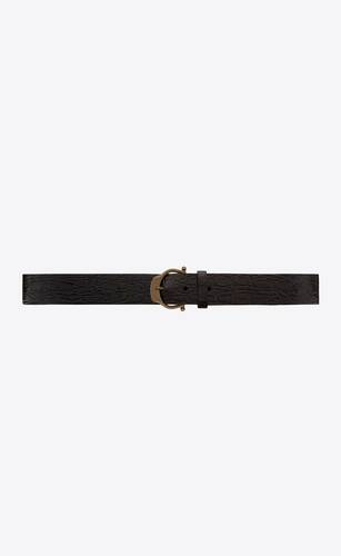 horseshoe buckle belt in crocodile-embossed leather