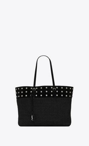 boucle medium e/w shopping bag in raffia and suede with studs