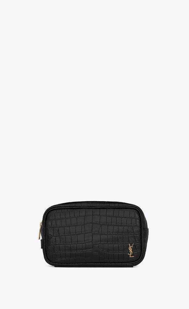 tiny monogram small grooming case in crocodile-embossed matte leather
